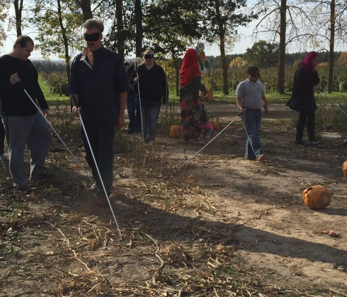 Image of BLIND, Inc. students at Afton Orchards