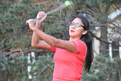 Helen Waquiu practices old-style lacrosse with other women who play with Twin Cities Native Lacrosse. They met for practice on Oct. 20, 2015, at Corcoran Park in Minneapolis.