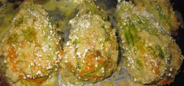 Squash blossoms baked in the pan