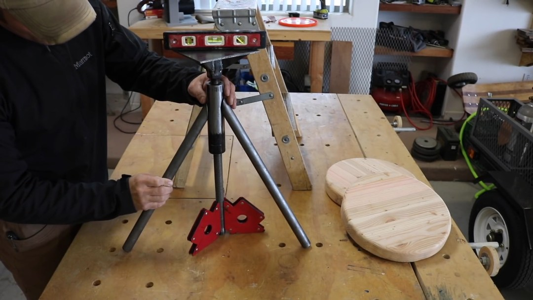 Getting the stool legs in place