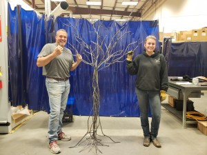 Gabby and Matt by Tree Sculpture