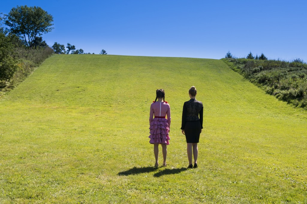 Tamsin and Bo in field in Follow the Yellow Trick Road