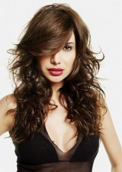 messy layered haircuts 20 layered haircuts with bangs 3987 | Messy Brunette Layered Hair Long layered haircuts with bangs
