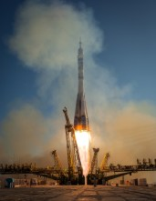 The Soyuz TMA-11M rocket is launched with Expedition 38 Soyuz Commander Mikhail Tyurin of Roscosmos, Flight Engineer Rick Mastracchio of NASA and Flight Engineer Koichi Wakata of the Japan Aerospace Exploration Agency onboard, Thursday, Nov. 7, 2013, at the Baikonur Cosmodrome in Kazakhstan. Tyurin, Mastracchio, and, Wakata will spend the next six months aboard the International Space Station. Photo Credit: (NASA/Bill Ingalls)