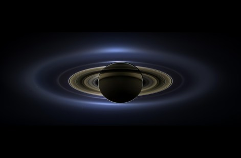 Image via Discovery.com On July 19, NASA's Cassini Saturn orbiter drifted behind the ringed gas giant, photographing this mosaic of Saturn blocking the sun -- Earth, Venus and Mars also appeared, as tiny specks of distant light. This week, the incredible mosaic was released to the world.