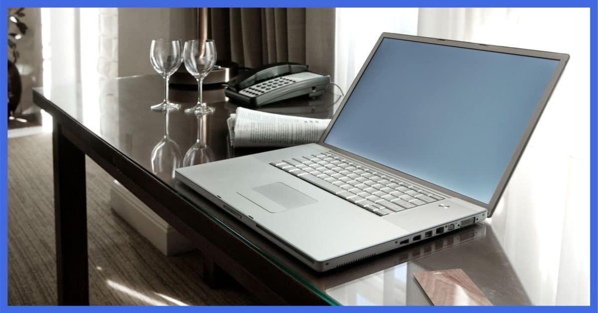 Laptop in a Hotel Conference Room