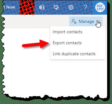 Export contacts in outlook.com