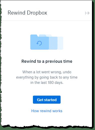 Dropbox Rewind Feature