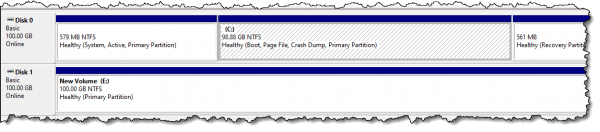 Lower pane in disk manager.
