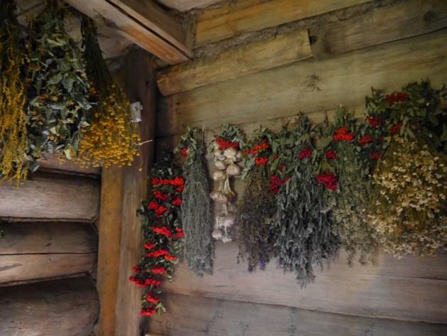 История деревни.  Над входом в дом сушили травы и ягоды