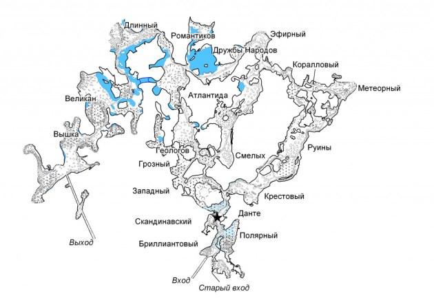 план гротов. кунгурская ледяная пещера