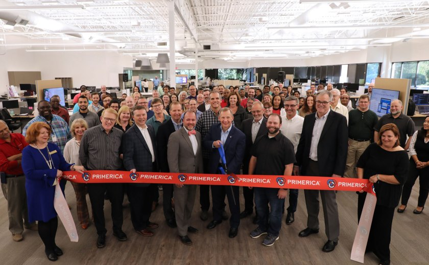 Photo of CEO Glenn Williams along with employees of new Primerica Technology Innovation Center