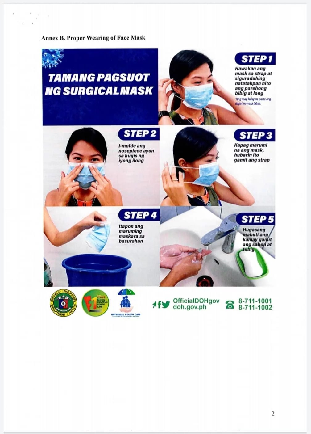 Illustration on how to use face mask