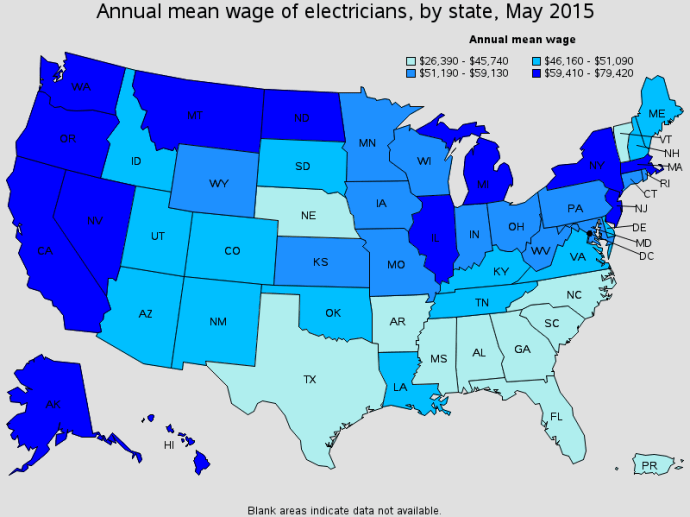 Essential Guide To The Electricians Salary Wages Ask The - Us map apprenticeship program