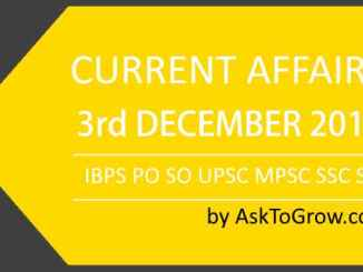 Current affairs and Gk updates 3RD DECEMBER 2018