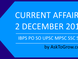 Government jobs Current affairs and daily gk updates 2 December 2018