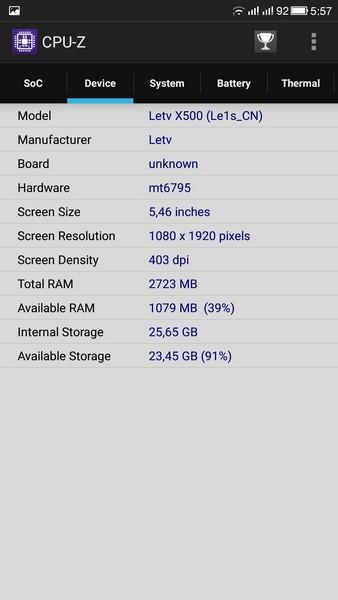 LeTV Le 1s - CPU-Z 2