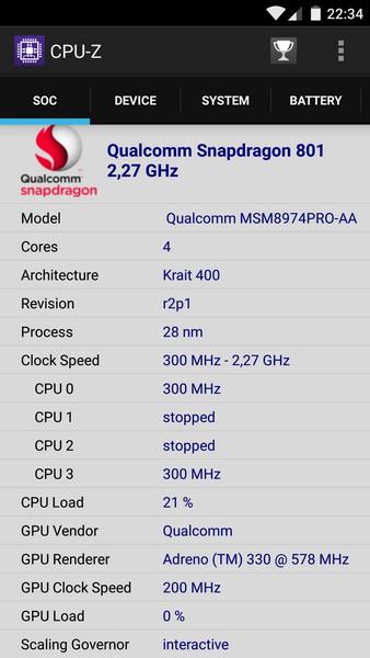 OnePlus X - CPU-Z 1