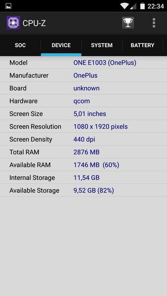 OnePlus X - CPU-Z 2