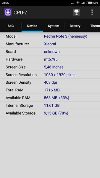 Xiaomi Redmi Note 3 - CPU-Z 2