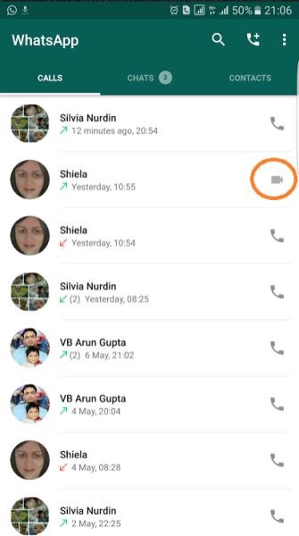 Video calling WhatsApp 4