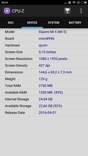 Xiaomi Mi5 - CPU-Z 2