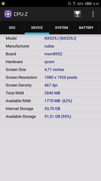Nubia Z11 Mini Review - CPU-Z 2