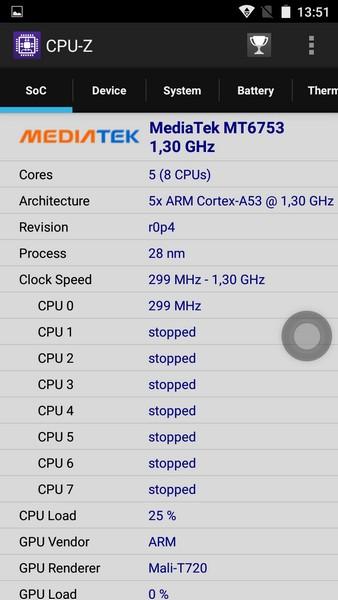 Ulefone Metal Review - CPU-Z
