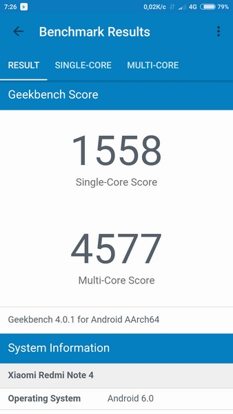 Xiaomi Redmi Note 4 Review - Geekbench