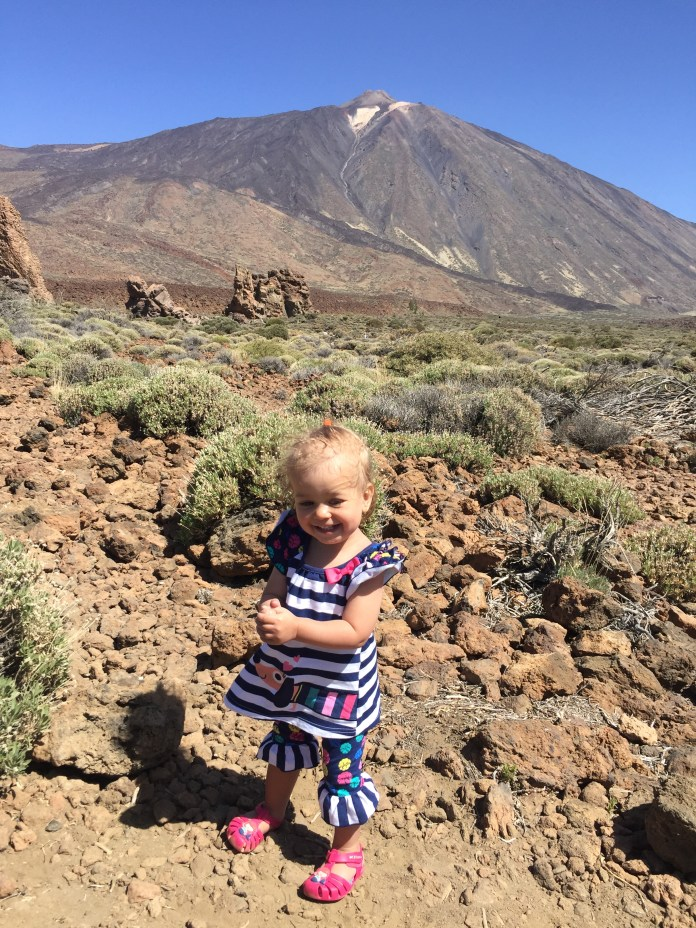 Clementine with Mt. Teide (12,000 Ft.) behind her.