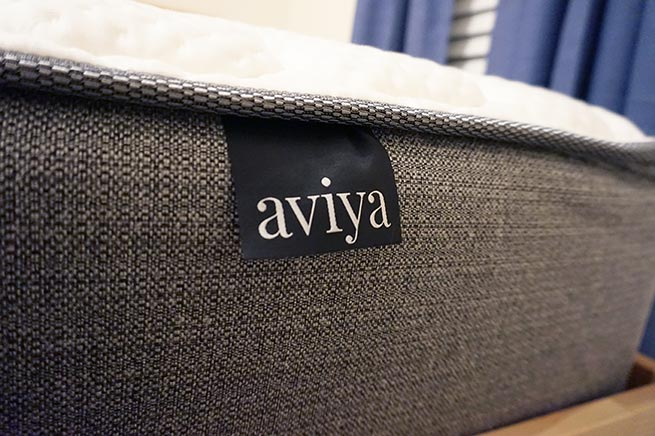 Aviya Mattress Review with bed label