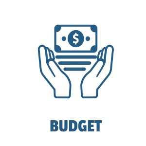 Budget icon, hands holding money