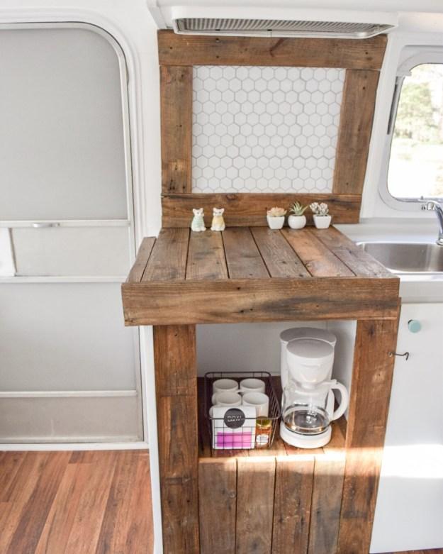 Airstream Coffee Bar and chopping block
