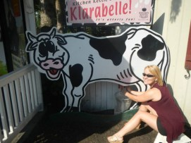Shelly milkin' the cow.