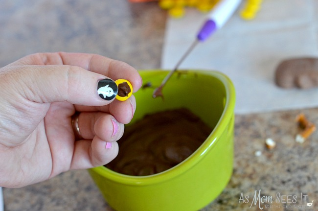 Attach eyes to the Chocolate Halloween Spiders