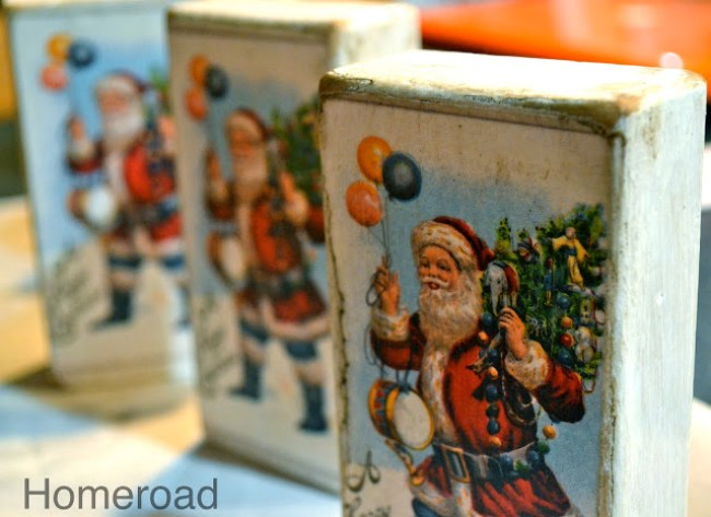 Vintage blocks with old Christmas cards
