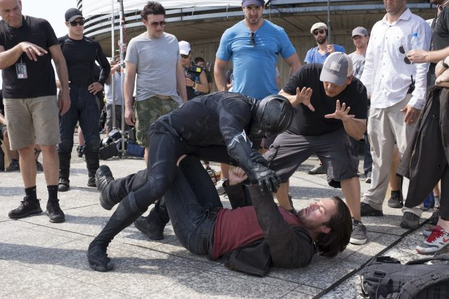 Russo Brothers on set of Captain America: Civil War