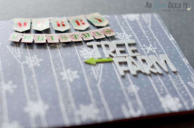 Add scrapbook details to your Christmas Tree Farm Shadowbox