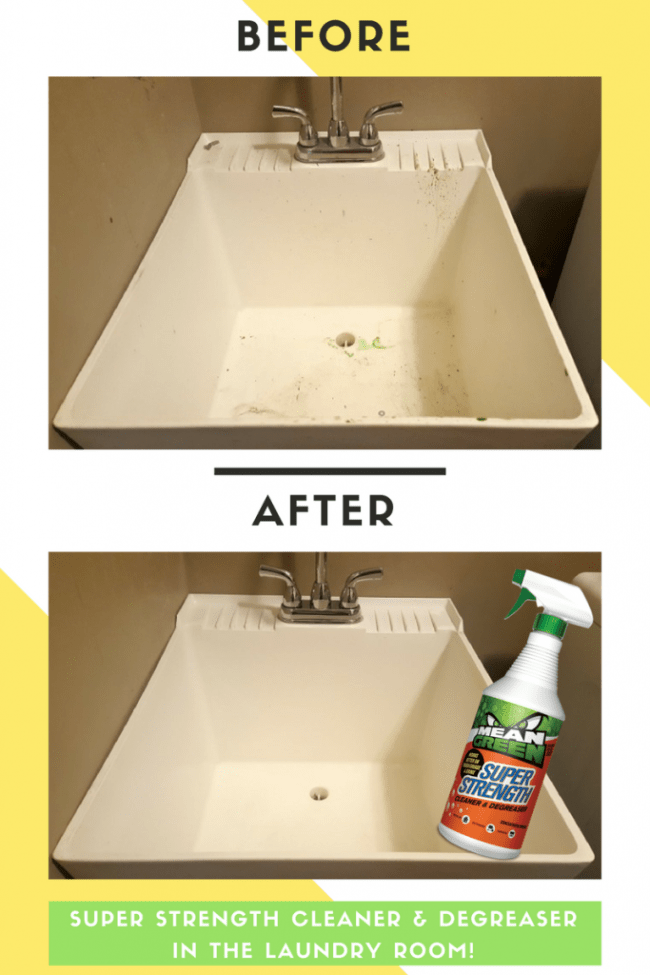 Our utility sink before and after Mean Green Super Strength Cleaner & Degreaser