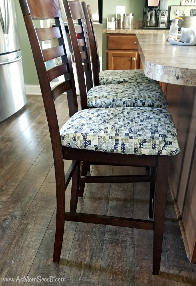 After we reupholstered our old bar stools, the difference is amazing!