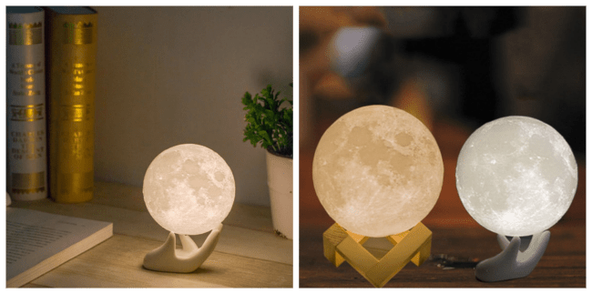 Each Apollo Box Moon Light comes in three sizes and a wood or porcelain stand