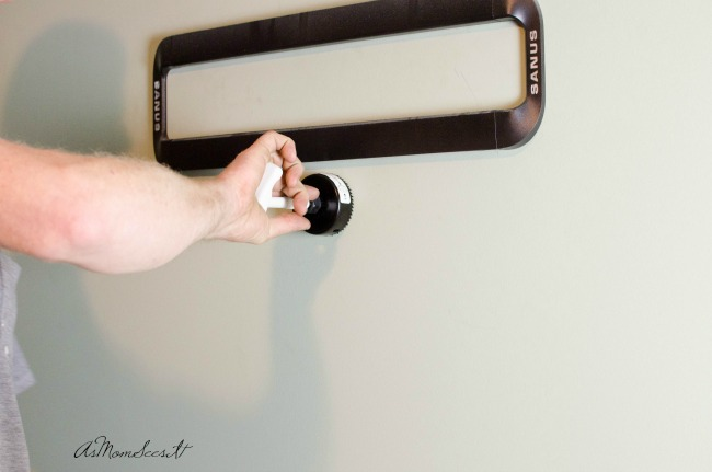 Use the enclosed hand tool to drill two holes into your wall for the outlets