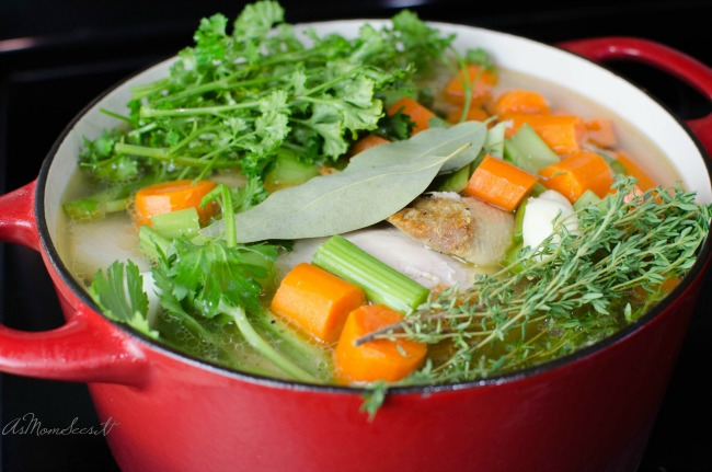 Fresh and easy homemade chicken stock for soup is good to have on hand for cold and flu season