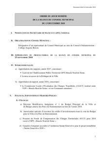 Ordre du jour du Conseil municipal du 13 décembre 2018