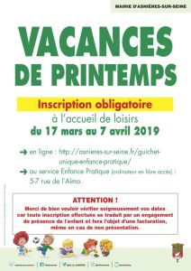 Affiche inscription obligatoire - vacances de printemps