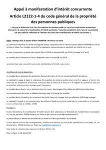 APPEL A MANIFESTATION D'INTÉRÊT CONCURRENTE DU 6 MARS 2019