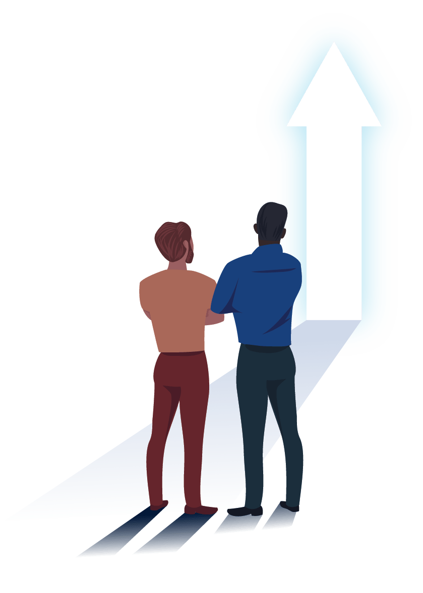 Two men standing and looking at an up arrow.