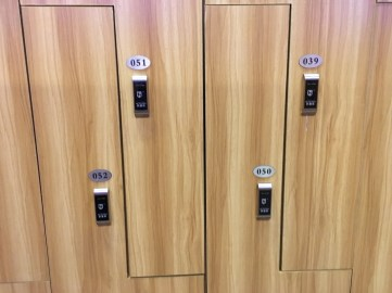 Worried about the number 4? Just skip all the 40s then too. (These are the lockers at our gym.)
