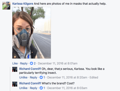A portion of my Facebook conversation with journalist Richard Conniff