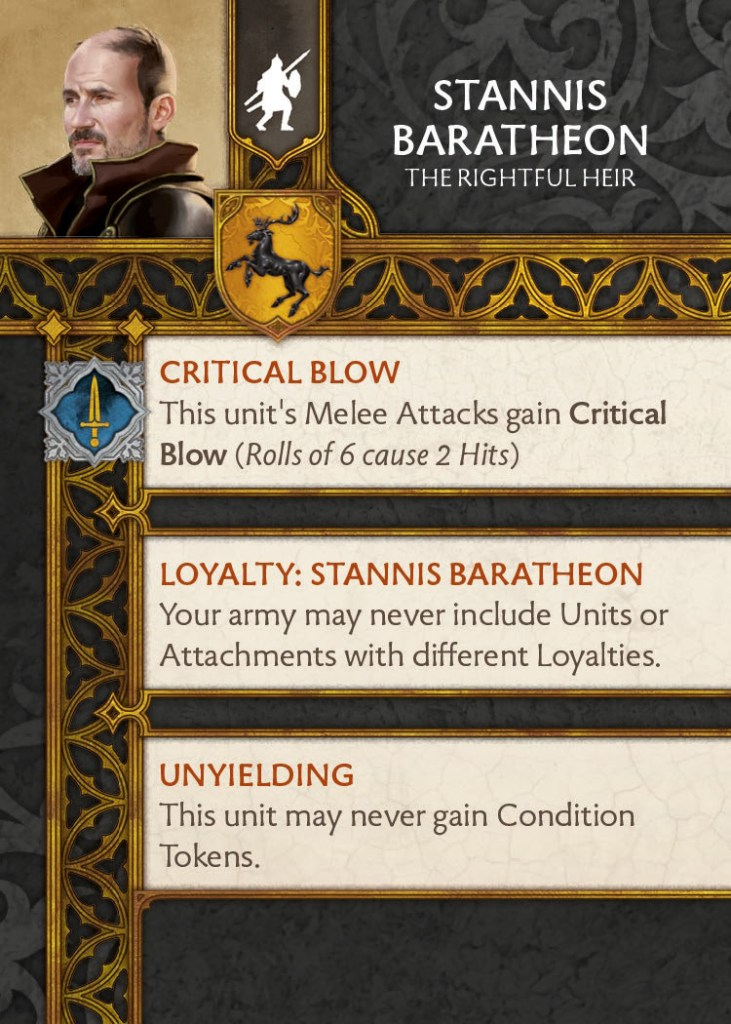 Stannis Baratheon Rightful Heir Back of Card